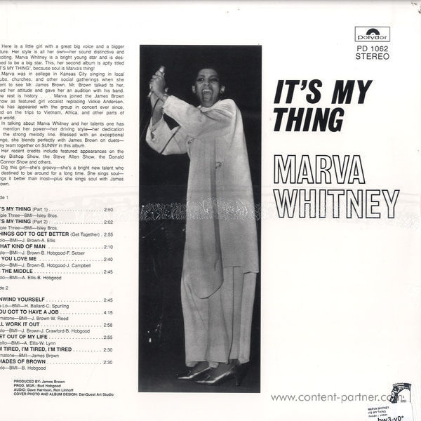 Marva Whitney - It's My Thing (180g 2LP, Rem, Expanded) (Back)
