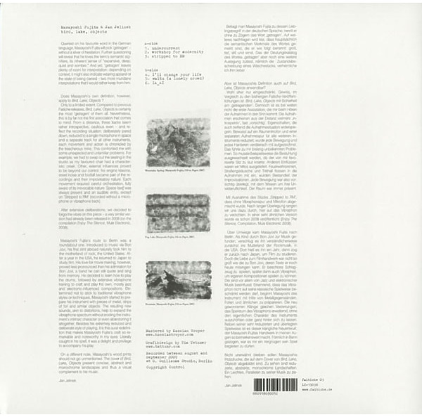 Masayoshi Fujita & Jan Jelinek - BIRD, LAKE, OBJECTS (LP) (Back)