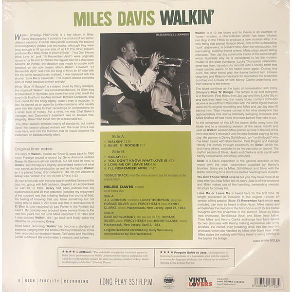 Miles Davis Sextet - Walkin' (LP) (Back)
