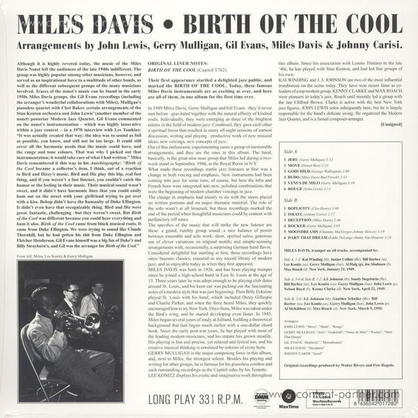 Miles Davis - Birth Of The Cool (LP) (Back)