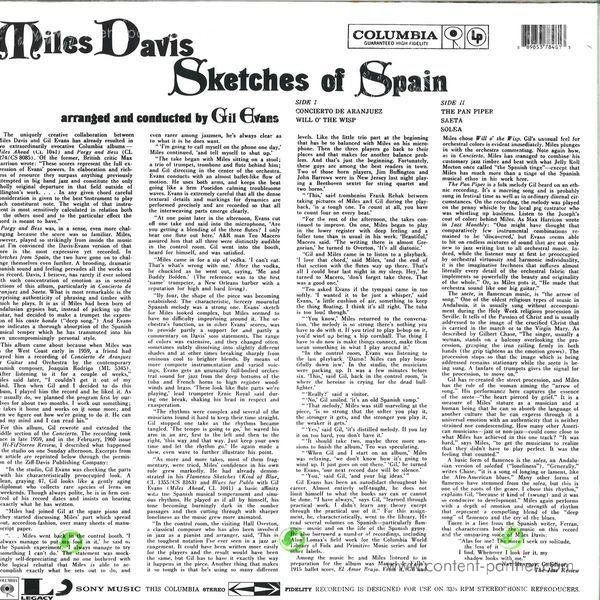 Miles Davis - Sketches of Spain (Ltd. 180g yellow vinyl) (Back)