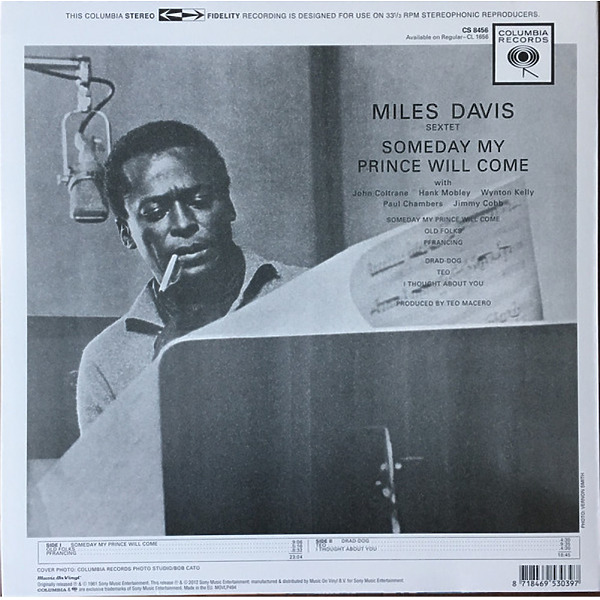 Miles Davis - Someday My Prince Will Come (180g Reissue LP) (Back)