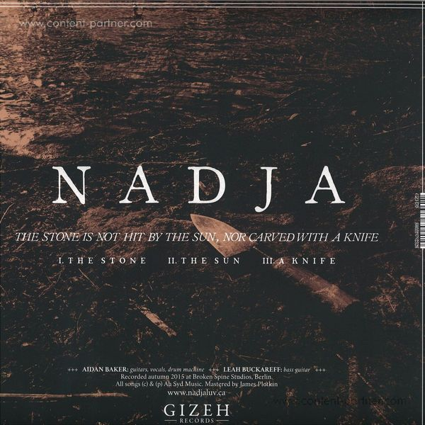 Nadja - The Stone Is Not Hit By The Sun, Nor Carved With A (Back)