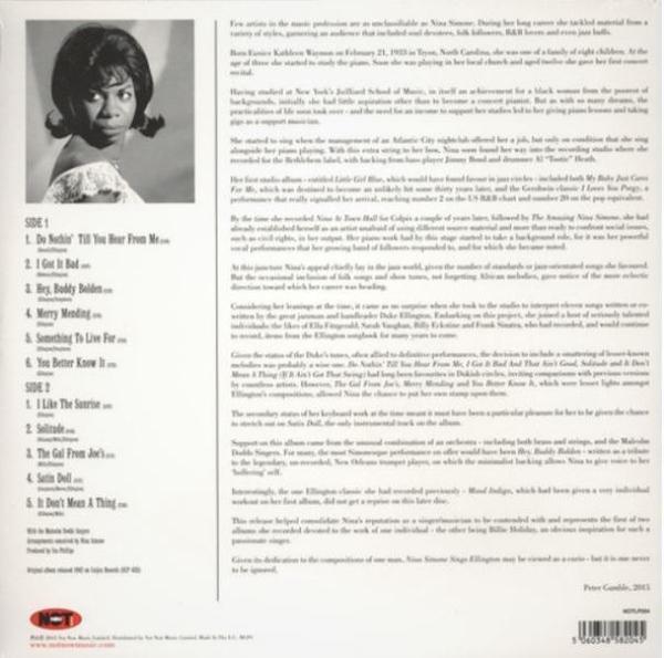 Nina Simone - Sings Duke Ellington (Ltd. Coloured LP reissue) (Back)