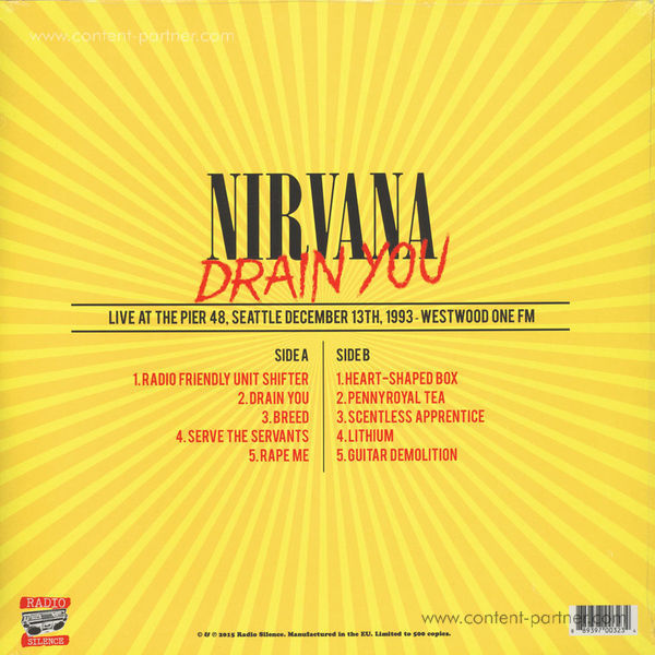 Nirvana - Drain You: Live At The Pier 48, Seatlte (Back)