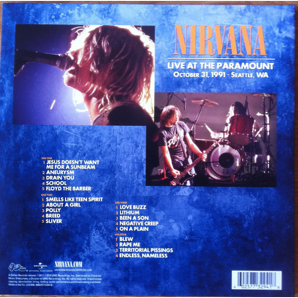 Nirvana - Live At The Paramount (2LP) (Back)