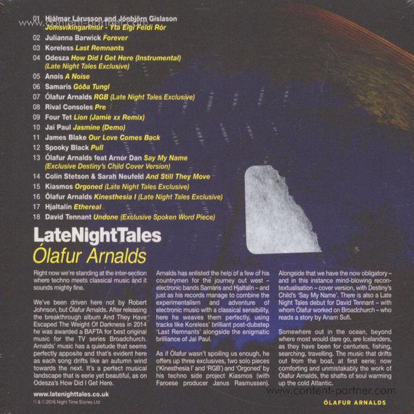 Olafur Arnalds - Late Night Tales (2LP+MP3/180g/Gatefold) (Back)