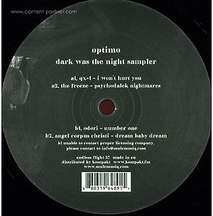 Optimo - Dark Was The Night Sampler
