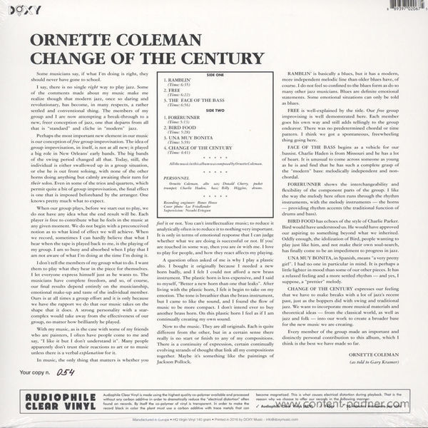 Ornette Coleman - Change Of The Century (LP) (Back)