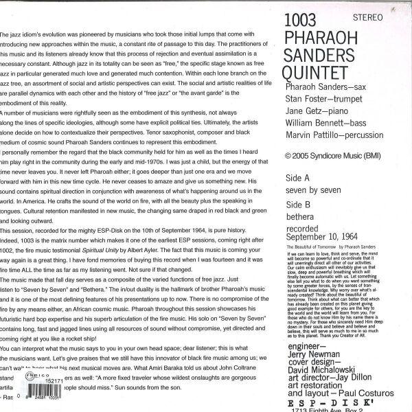 Pharoah Sanders - Pharoah Sanders Quintet (180g Reissue) (Back)