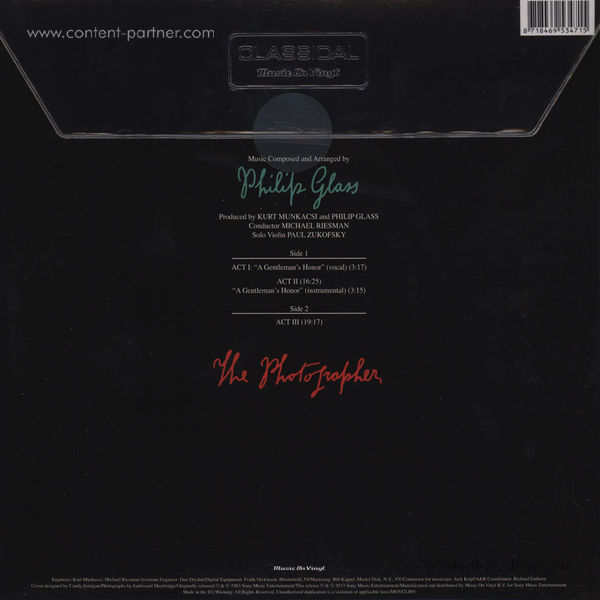 Philip Glass - Photographer (LP) (Back)