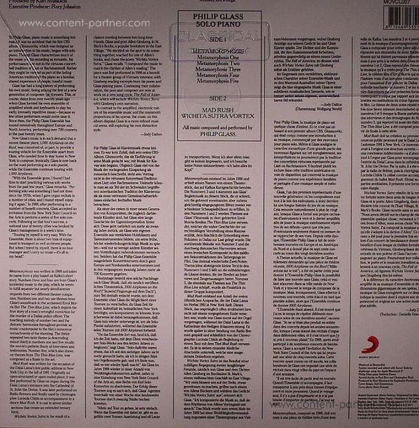 Philip Glass - Solo Piano (LP) (Back)