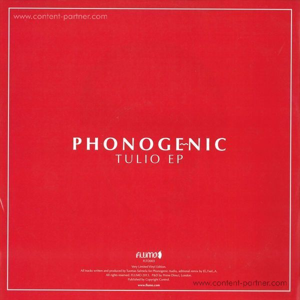 Phonogenic - TULIO EP (CLEAR RED VINYL) (Back)
