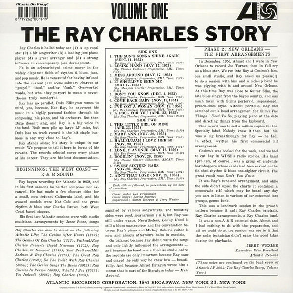 Ray Charles - The Ray Charles Story Volume One (Back)