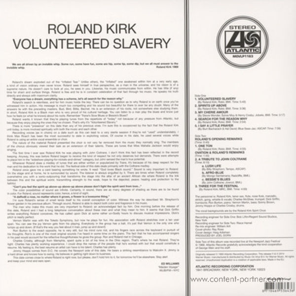 Roland Kirk - Volunteered Slavery (Back)