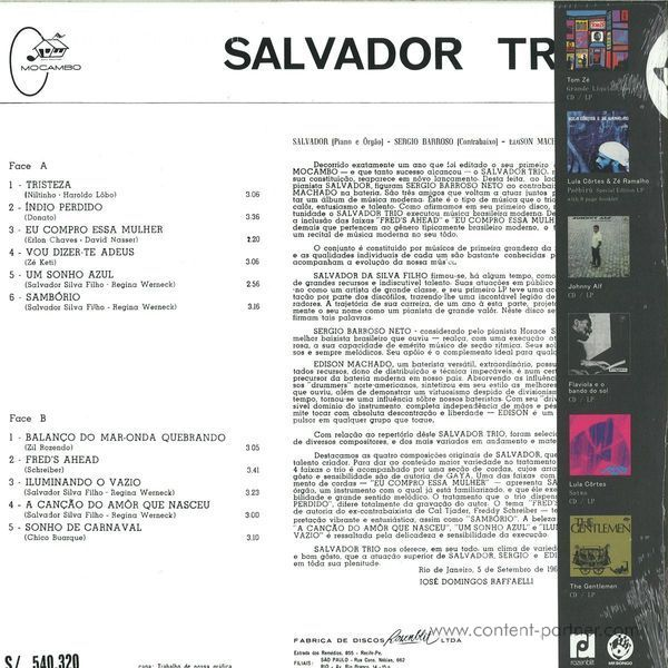 Salvador Trio - Tristeza (Reissue) (Back)