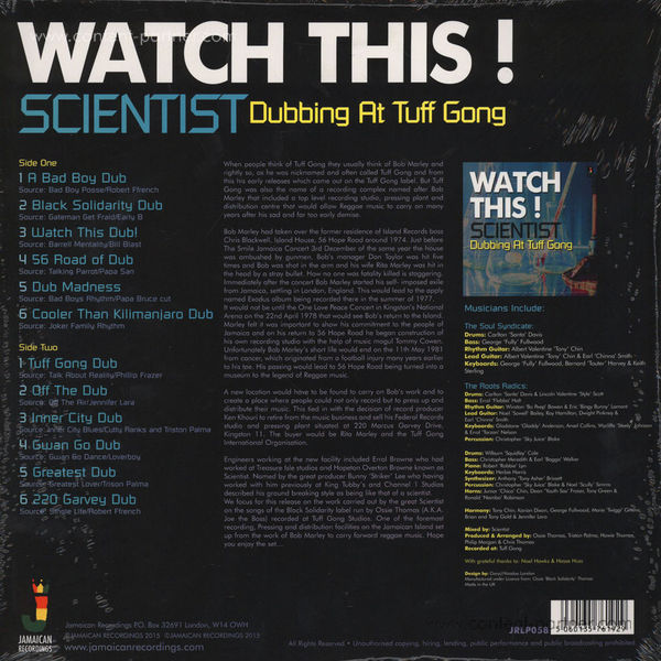 Scientist - Watch This Dubbing At Tuff Gong (Back)