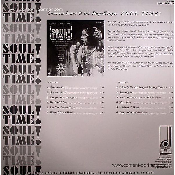 Sharon Jones & The Dap-Kings - SOUL TIME! (Back)
