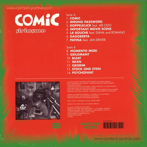 Siriusmo - Comic (Ltd. Dark Green Vinyl LP+MP3+Poster) (Back)