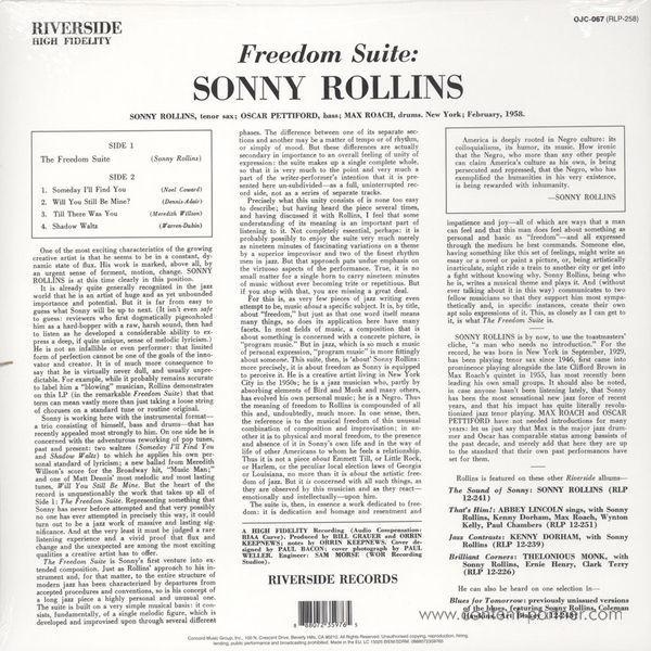 Sonny Rollins - Freedom Suite (Back to Black Ltd. Edt.) (Back)