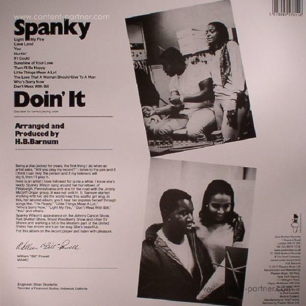 Spanky Wilson - Doin' It (180g LP Reissue) (Back)