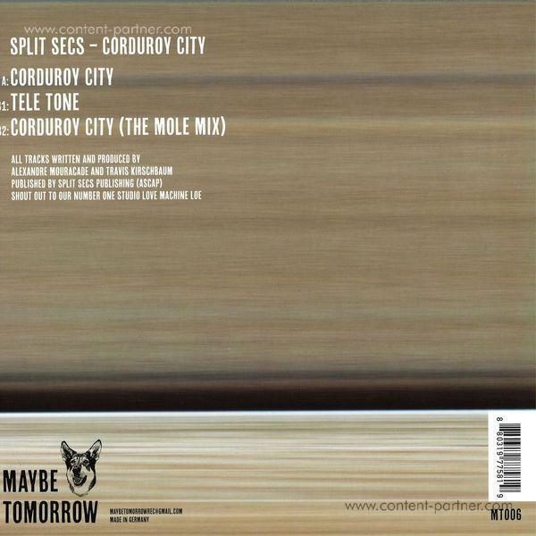 Split Secs - Corduroy City (Back)