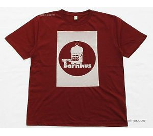Studio Barnhaus T-shirt - Burgundy White Print On Front - Size XL