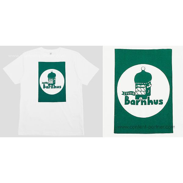 Studio Barnhaus T-shirt - White With Green Print On Front- Size S (Back)