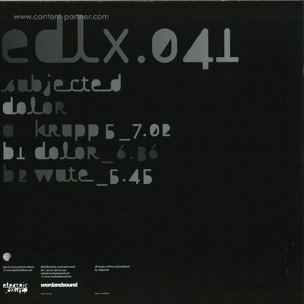 Subjected - Dolor (Back)