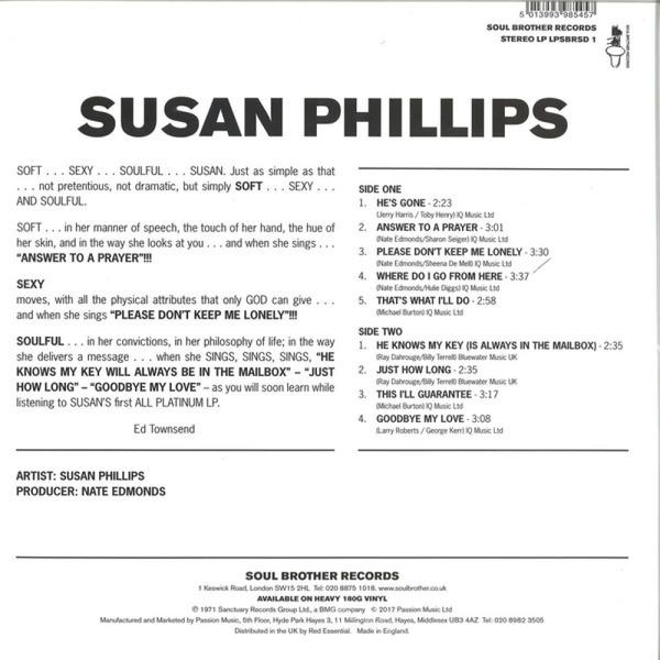 Susan Phillips - Soft Sexy Soul (LP Reissue) (Back)