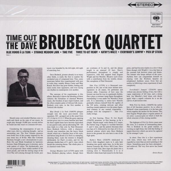 The Dave Brubeck Quartet - Time Out (180g LP) (Back)