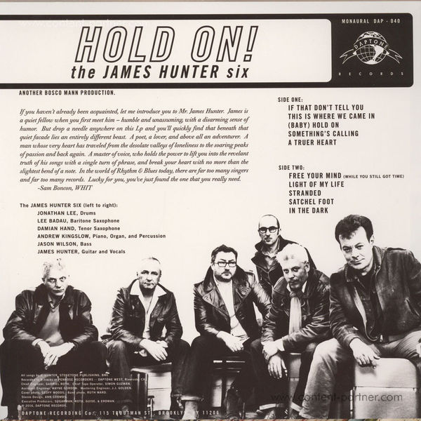 The James Hunter Six - Hold On! (LP) (Back)