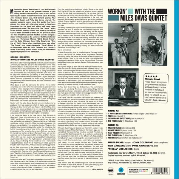 The Miles Davis Quintet - Workin' (Coloured Vinyl LP) (Back)