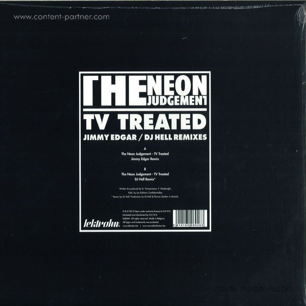 The Neon Judgement - Tv Treated (jimmy Edgar / DJ Hell Rmx) (Back)
