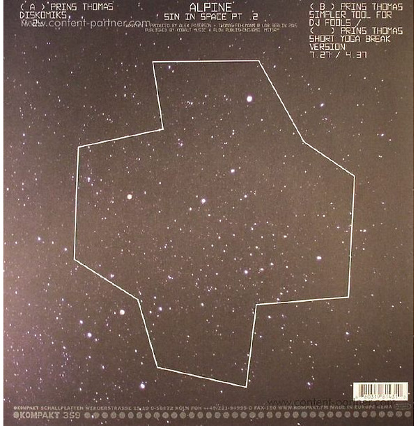 The Orb - Alpine Diskomiks - Sin In Space Pt. 2 (Back)