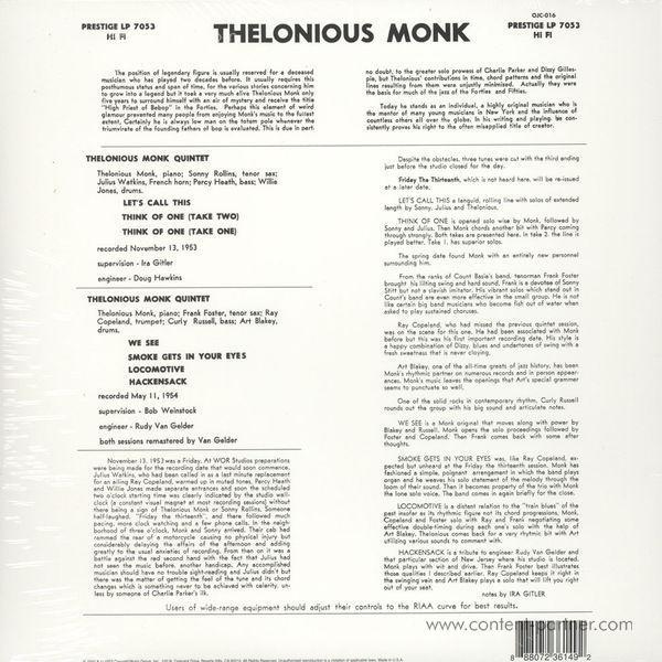 Thelonious Monk Quintet - Monk (Back to Black Ltd. Ed.) (Back)