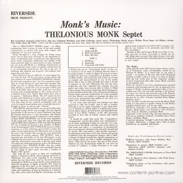 Thelonious Monk - Monk's Music (Back to Black Edt.) (Back)