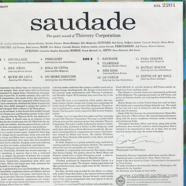 Thievery Corporation - Saudade (180g) (Back)