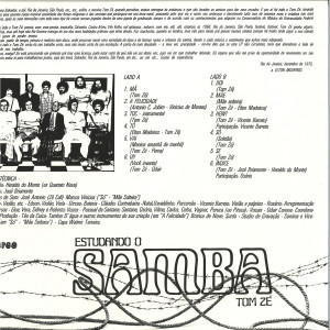 Tom Ze - Estudando O Samba (Reissue 2019) (Back)