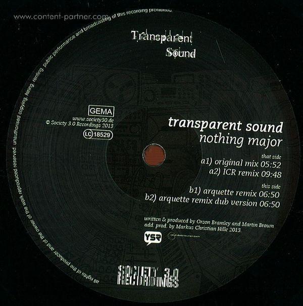 Transparent Sound - Nothing Major (ICR & Arquette Remixes) (Back)