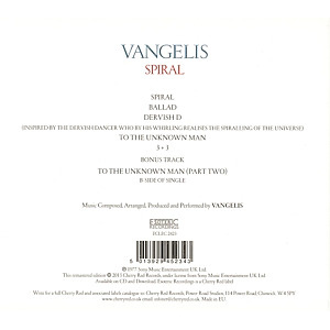 Vangelis - Spiral (Remastered Edition) (Back)