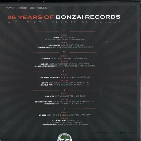 Various Artists - 25 Years Of Bonzai Records 5lp Boxset (Back)