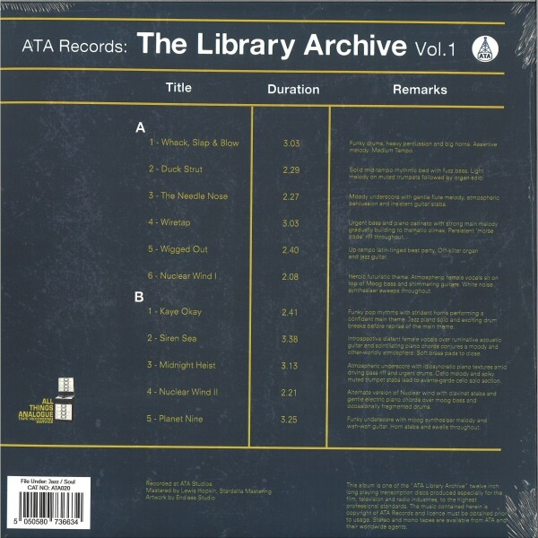 Various Artists - ATA Records: The Library Archive (LP) (Back)