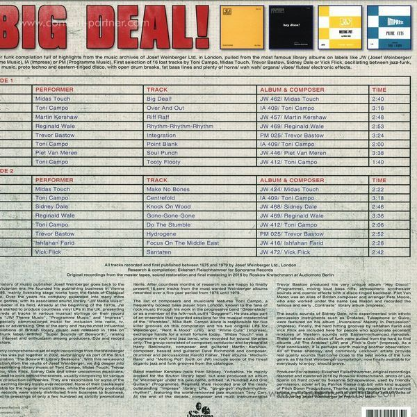 Various Artists - Big Deal! (Weinberger Funk Library UK 1975-79) (Back)