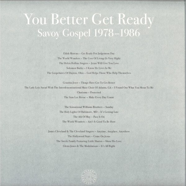 Various Artists - You Better Get Ready: Savoy Gospel 1978-1986 (Back)