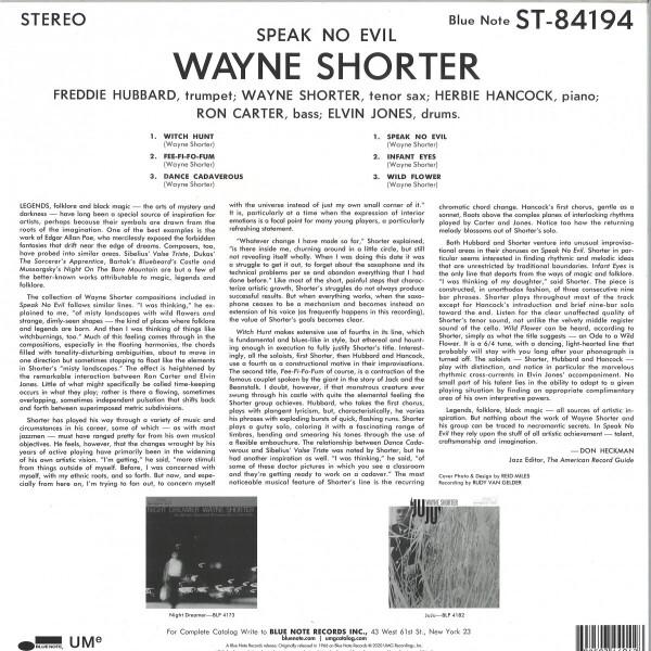 Wayne Shorter - Speak No Evil (Reissue) (Back)