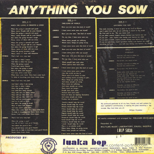 William Onyeabor - Anything You Sow (Re-Issue) (Back)