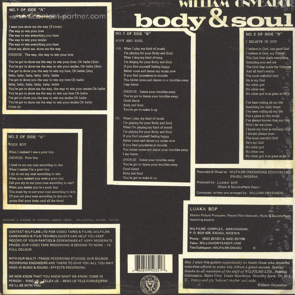 William Onyeabor - Body & Soul (Re-Issue) (Back)
