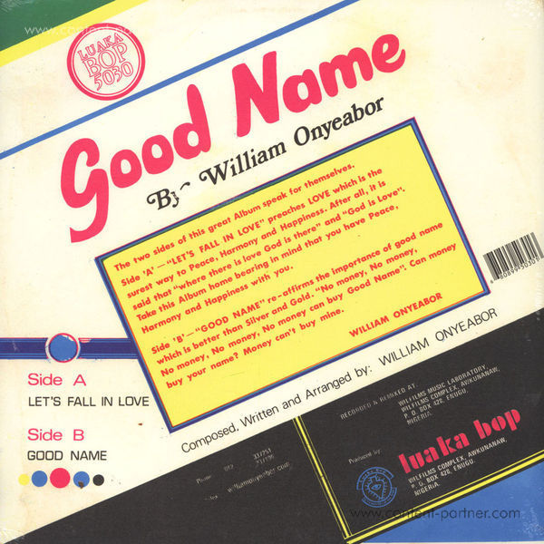 William Onyeabor - Good Name (Re-Issue) (Back)