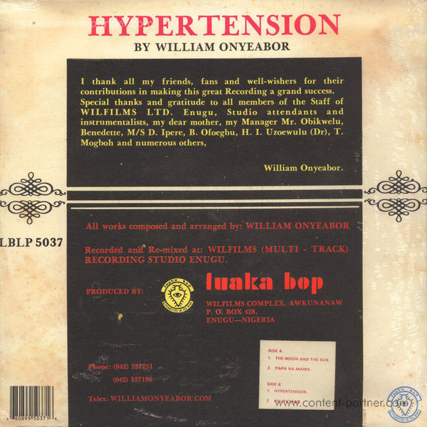 William Onyeabor - Hypertension (Re-Issue) (Back)